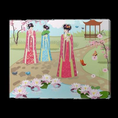 tableau sur toile filles chinoises l 39 tang pixers nous vivons pour changer. Black Bedroom Furniture Sets. Home Design Ideas