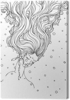 Tableau sur Toile Filles encre doodle dessinés à la main le visage et les cheveux qui coule sur fond blanc. conception pour adultes, affiche, impression, t-shirt, invitation, bannières, dépliants. esquisser. vecteur eps 8.