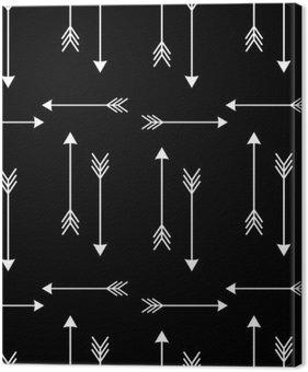 Tableau sur Toile Flèches blanches sur fond noir vecteur seamless illustration__