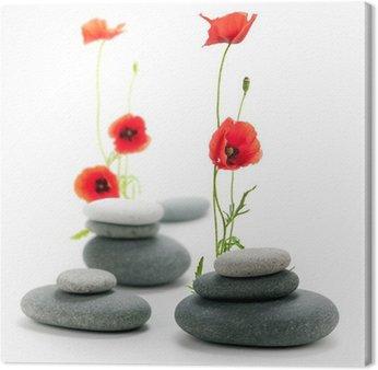 Tableau sur Toile Fleur de coquelicot et galet - l'image Isolée sur du blanc