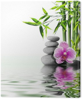 Tableau sur Toile Fleur orchidée pourpre bambou final sur l'eau