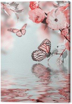 Tableau sur Toile Fleur rose d'une cerise Oriental dans et papillon