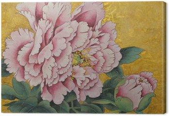 Tableau sur Toile Fleur rose pivoine sur un fond d'or