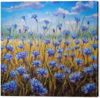 Tableau sur Toile Fleurs bleues de peinture à l'huile sur le terrain.