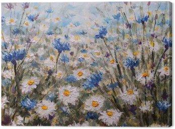 Tableau sur Toile Fleurs. Glade des bleuets et des marguerites. fleurs d'été.