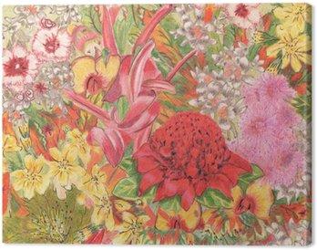 Tableau sur Toile Fleurs sauvages. indigènes australiens. Colorfu dessin au crayon.