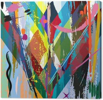 Tableau sur Toile Fond abstrait, avec des coups, des éclaboussures et les lignes géométriques