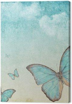 Tableau sur Toile Fond de cru avec un papillon bleu