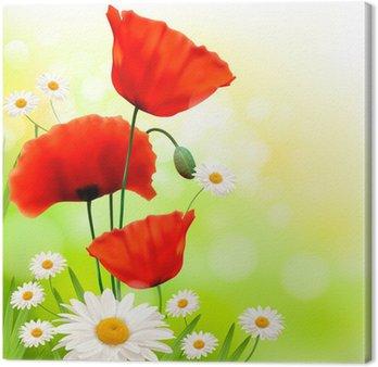 Tableau sur Toile Fond de printemps avec coquelicot rouge et daisy. Vecteur