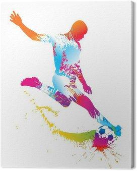 Tableau sur Toile Football joueur botte le ballon. Vector illustration.