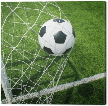 Tableau sur Toile Football terrain de football stade herbe ligne balle texture de fond