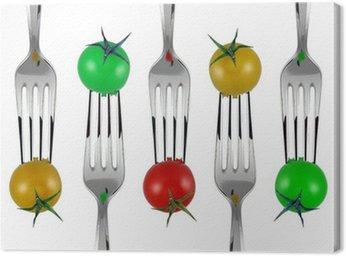 Tableau sur Toile Forchette e pomodorini colorati