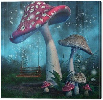 Tableau sur Toile Forêt magique de grands champignons et le swing