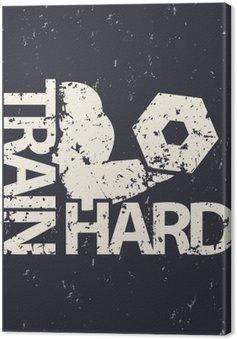 Tableau sur Toile Former emblème dur, signe grunge, gymnase t-shirt imprimé, illustration vectorielle