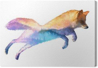 Tableau sur Toile Fox double exposition illustration