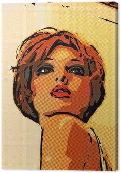 Tableau sur Toile Frau. simili-portrait.