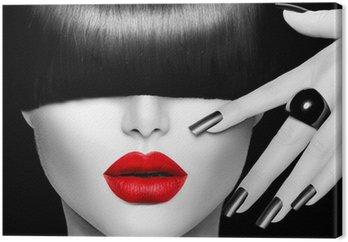 Tableau sur Toile Girl Fashion Modèle avec la mode Coiffure, maquillage et manucure