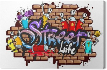 Tableau sur Toile Graffiti composition des caractères de texte