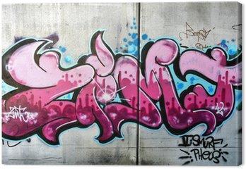 Tableau sur Toile Graffiti rose à Salzbourg, en Autriche. Art ou vandalisme urbain.