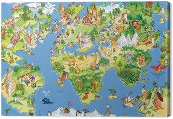 Tableau sur Toile Grande carte du monde et drôle