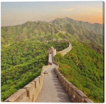 Tableau sur Toile Grande Muraille de Chine au coucher du soleil