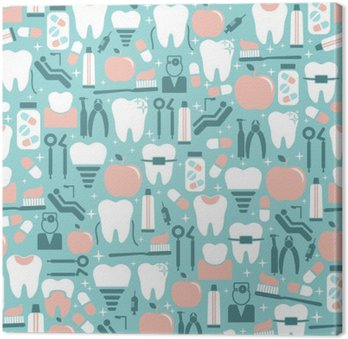 Tableau sur Toile Graphics soins dentaires sur fond bleu