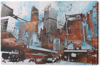 Tableau sur Toile Gratte-ciel avec grunge abstraite, illustration peinture