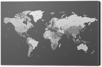 Tableau sur Toile Gris carte mondiale détaillée