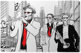 Tableau sur Toile Groupe de jazz dans une rue de New-York