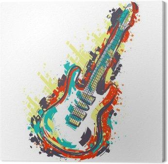 Tableau sur Toile Guitare électrique. Hand drawn art de style grunge. banner Retro, carte, t-shirt, sac, impression, poster.Vintage main colorée dessinée illustration vectorielle