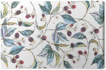 Tableau sur Toile Hand-drawn aquarelle seamless ornament avec des motifs naturels: branches mûres, les feuilles et les baies. illustration décorative répétée, frontière avec les baies et les feuilles