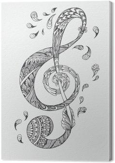 Tableau sur Toile Hand-drawn clé de la musique avec des ornements ethniques motif doodle. Vector illustration Henna Mandala Zentangle stylisé pour le livre de couverture ou de la carte, tatouage plus. Conception pour la relaxation spirituelle pour les adultes.