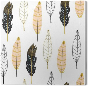 Tableau sur Toile Hand Drawn Feathers Pattern Seamless