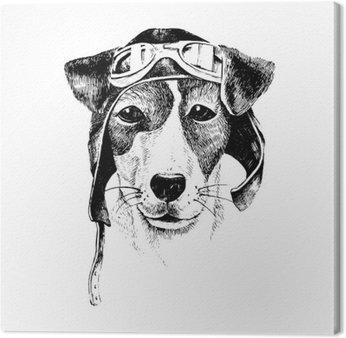 Tableau sur Toile Hand Drawn habillé aviateur chien
