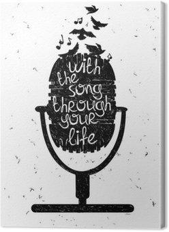 Tableau sur Toile Hand drawn illustration musicale avec la silhouette de microphone.