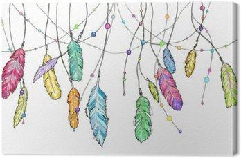 Tableau sur Toile Hand drawn plumes esquisse de capteur de rêves.