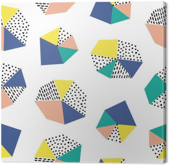 Tableau sur Toile Hand drawn seamless coups de pinceau et figure géométrique.