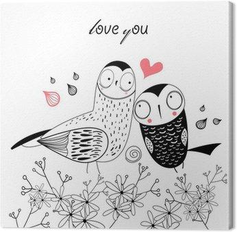 Tableau sur Toile Hiboux amour