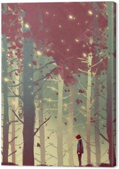 Tableau sur Toile Homme debout dans la belle forêt avec la chute des feuilles, illustration peinture