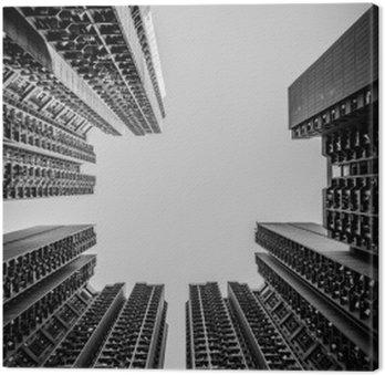 Tableau sur Toile Hong Kong cityscape Tone noir et blanc