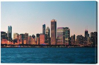 Tableau sur Toile Horizon de Chicago au crépuscule