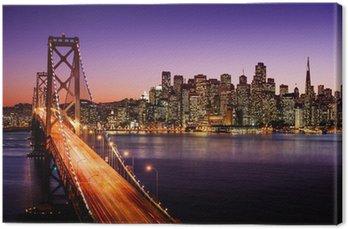 Tableau sur Toile Horizon de San Francisco et Bay Bridge au coucher du soleil, en Californie