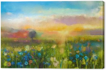 Tableau sur Toile Huile fleurs de peinture pissenlit, bleuet, marguerite dans les champs. Sunset prairie paysage avec fleurs sauvages, colline et ciel en orange et bleu fond de couleur. Main peinture l'été de style impressionniste floral