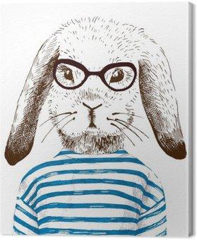 Tableau sur Toile Illustration de lapin habillé