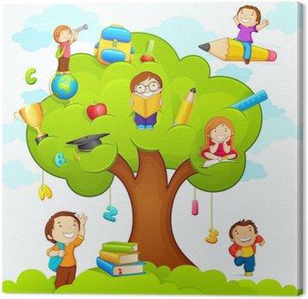 Tableau sur Toile Illustration de vecteur d'enfants étudier sur l'arbre d'éducation