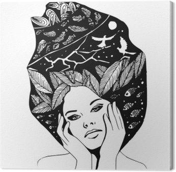 Tableau sur Toile __illustration, graphique portrait en noir et blanc de la femme