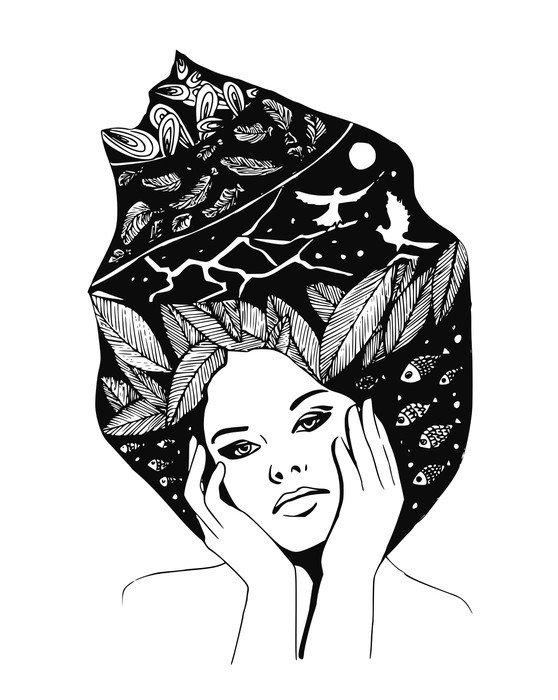 tableau sur toile illustration graphique portrait en noir et blanc de la femme pixers. Black Bedroom Furniture Sets. Home Design Ideas