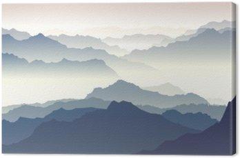 Tableau sur Toile Illustration horizontale du crépuscule dans les montagnes.