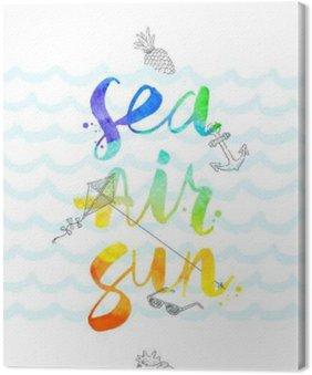 Tableau sur Toile Illustration tirée vacances d'été avec la main aquarelle calligraphie - illustration vectorielle