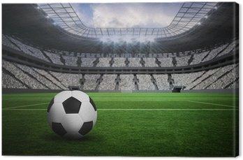 Tableau sur Toile Image composite de noir et blanc de football en cuir